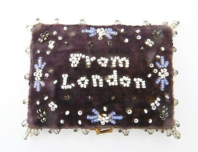 Antique 19thc Beaded Velvet Needle case Souvenir London England