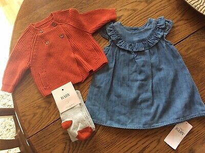 Baby Girls MARKS AND SPENCER Dress, Cardigan & Tights Set Age 0-3 Months Bnwt