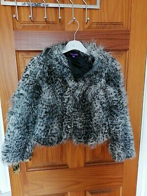Genuine animal print Marks And Spencer Fluffy Grey Girls Coat Age 9-10 Years