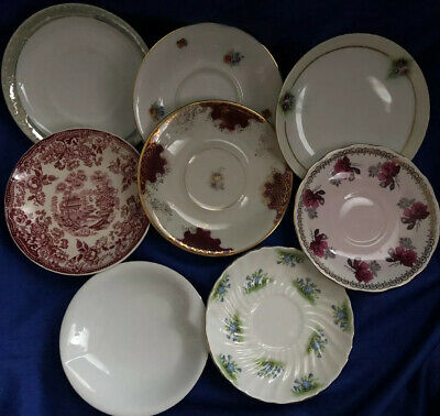 Mixed Lot 8 Saucers Bavaria Artist Signed Aynsley Eschenbach Queen Anne Vintage