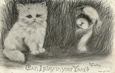 "Vintage Cat Postcard "" Can I play in your Yard Kitten and Puppy Signed Volby"
