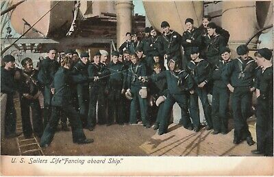 "U.S. Sailors Life ""Fencing aboard Ship"".  Circa WW I era Postcard. Navy Military"