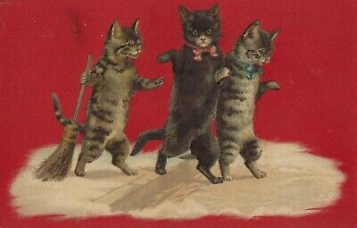Vintage Cat Postcard Cats Dancing with Broom Drawing Embossed Unposted