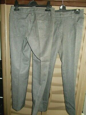 2 Pairs Of Girls Grey School Trousers  Age 10 Years