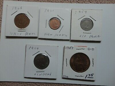 BRITISH COIN Lot of 5 Circulated Assorted  British Coins
