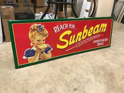 """SUNBEAM BREAD"" LARGE EMBOSSED METAL ADVERTISING SIGN, (42""x 14"")NEAR MINT COND"