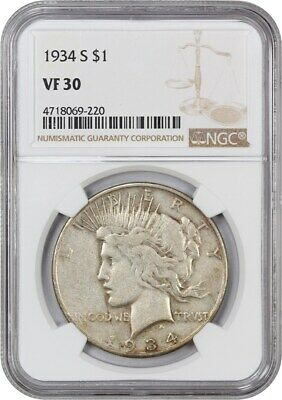 1934-S $1 NGC VF30 - Key Date from San Francisco - Peace Silver Dollar