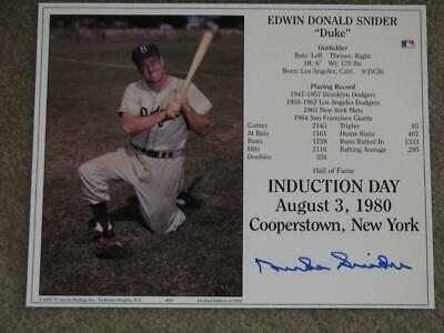 Duke Snyder  8X10 Autograph On Induction Day Card # 20 Of 1000, August 3Rd, 1980