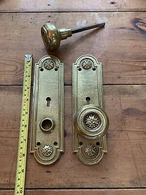 Pr Antique Cast Brass Door Knobs With Matching Plates