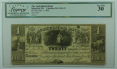 1836 20 Shillings Agricultural Bank Montreal Canada Obsolete Note Legacy VF-30
