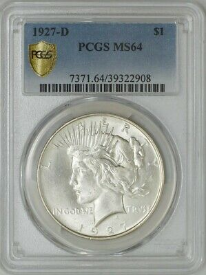 1927-D Peace Dollar $ MS64 Fully Struck Secure Plus PCGS 942581-2