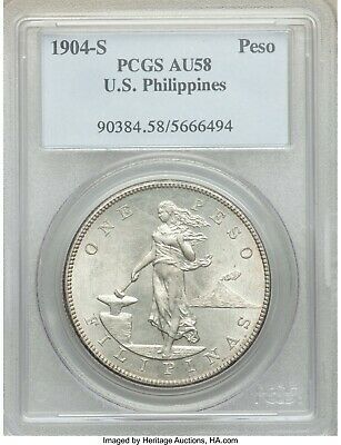 US PHILIPPINES ONE PESO 1904-S PCGS AU 58 silver coin Filipinas