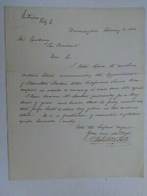 Hamilton Fish Extremely Rare Signed Letter to US President Millard Fillmore 1852