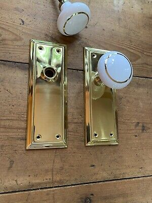 Pr Antique Style Porcelain Door Knobs With Solid Brass Backplates