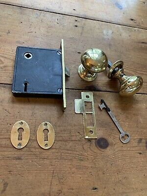 Vintage Door Knob Set With Mortise, Key And Striker Plate