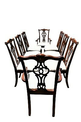 Late 18th Century Antique Chippendale Carved Mahogany Dining Chairs - Set of 8