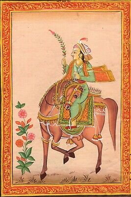 Mughal Dynasty Miniatura Pittura Affascinante Royal Moghul Empire Equestrain Art