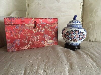 Chinese Porcelain Lidded Ginger Jar With Wood Stand And Foo Dog On Top