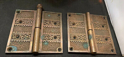 """Antique Brass Marked 1882 Door Ornate 4 1/2"""" Hinges Matching Pair"""