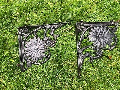 Pair Vintage Cast Iron Toilet Shelf Brackets Bathroom Supports ,Victorian