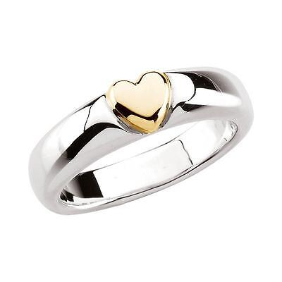 Heart Ring in Sterling Silver and 14k Yellow Gold
