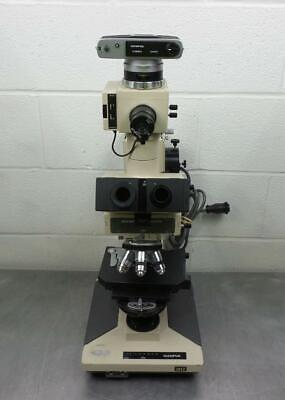 Olympus BH-2 Laboratory Microscope WIth Trinocular Head Camera And 2 Lamps