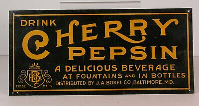 1910s CHERRY PEPSIN SODA TIN LITHOGRAPH ADVERTISING SIGN - GREAT TIN LITHO SIGN