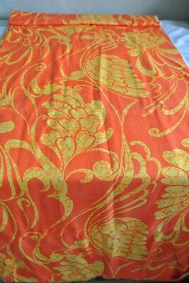 6 Yds Tropical Floral Batik Orange Yellow Fabric