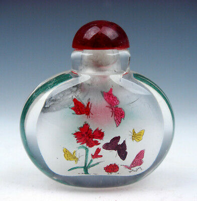 Peking Glass Inside *Lots Butterfly* Reverse Hand Painted Snuff Bottle #01072004