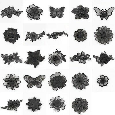 Embroidered Lace Black Floral Patch Sew/Iron-On Organza Clothing Craft Applique