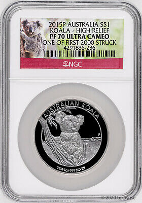 2015 Australia $1 Koala High Relief 1oz Silver Proof Coin NGC PF70 Ultra Cameo