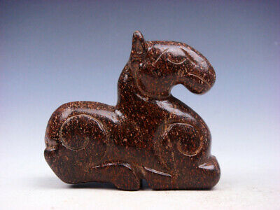 Old Nephrite Jade Stone Carved Sculpture Seated War Horse #04162002