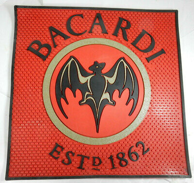 Vintage Genuine Bacardi Rum Rubber Bar Mat with Bat Image Logo