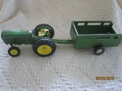 John Deere toy tractor #384 Ertl Co. and Nylint Farm Utility Trailer Vintage