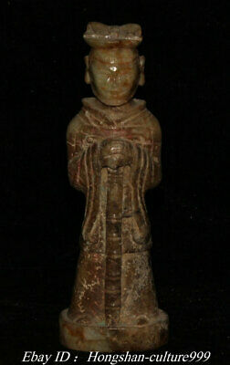6'' Old China Natural Hetian Jade Carving People Warrior Statue Sculpture