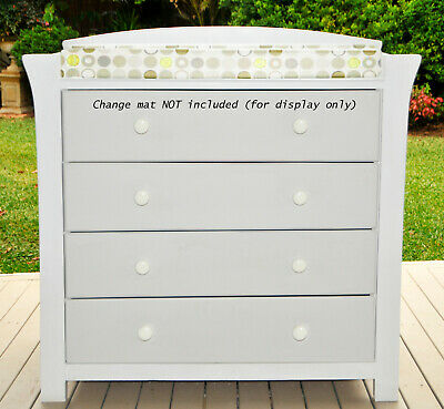 AS NEW Baby change table - chest of drawers - dressing table white & pale grey