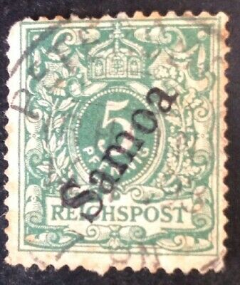 German Samoa 1900 5 Pfennig Green Stamp Used