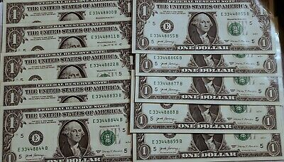 Set Of 10 - $1 2017 Fancy Serial Number RARE Quad Doubles / Pairs Uncirculated