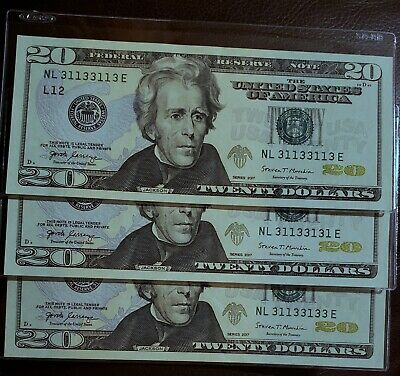 Lot of 3 - $20 Binary Note Fancy Serial Number With Radar Repeater 31133113 UNC