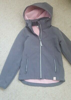 H&M Girls water-repellent fleece lined softshell jacket coat age 9-10 years grey