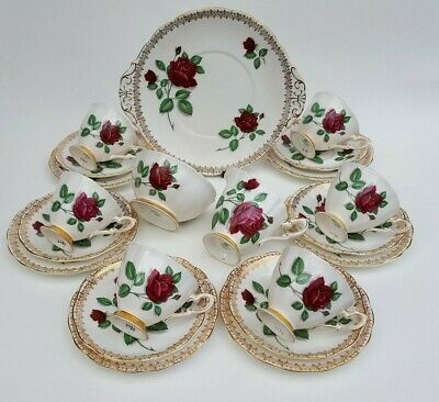Royal Standard Red Velvet floral china English bone china 21 piece tea service