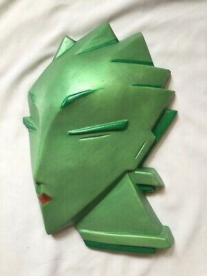 Unusual Very  Stylised  Deco Wall Mask Head ,Reproduction Plaster