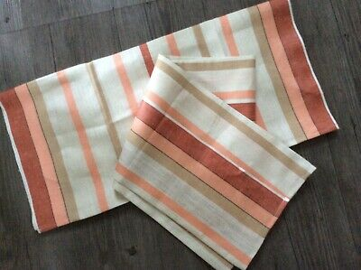 TWO! Awning Strip Linen - Vintage UNUSED Large Kitchen Tea Towel PYREX GO ALONG