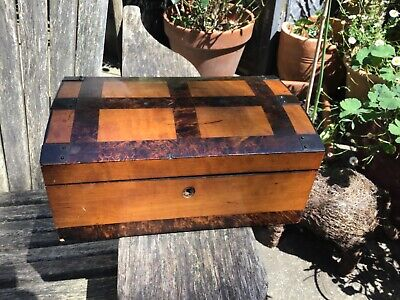 Antique domed top box with exotic wood (Walnut ?)  inlay Palais royale ?