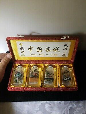 ☆ Set Of 4 ☆ Glass Hand Painted CHINA WALL Snuff Bottles ☆(Double Sided) ☆BNIB☆