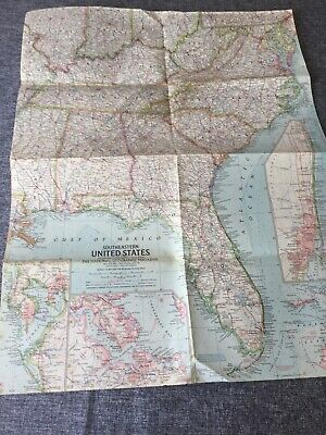 January 1958 Southeastern United States National Geographic Map No Tears