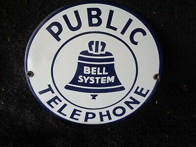 """Vintage Style Heavy  Metal Sign Bell System Public Telephone 7"""""""