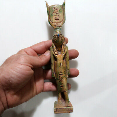 Intact-Neoclassical Egyptian Colored Glaze Ra Goddess Statue-Large Size