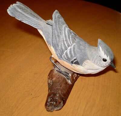Vintage Hand Carved Hand Painted Wood TITMOUSE Bird Signed Pete Micciche 1986