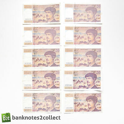 FRANCE: 10 x 20 French Franc Banknotes.